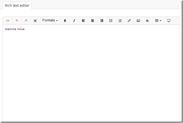 Umbraco 7: Use the rich text editor (TinyMCE) in a custom section